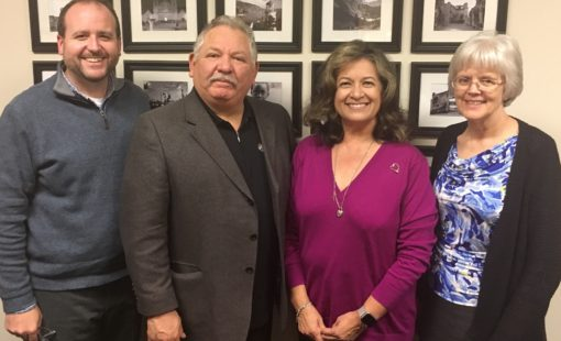 Bishop Jesse Yanez and wife, Isabel, meet with AMD Director Shaun McKinley and AMD Academic Advisor Katherine Osborn to discuss the newest regional cohort to be added to the program.